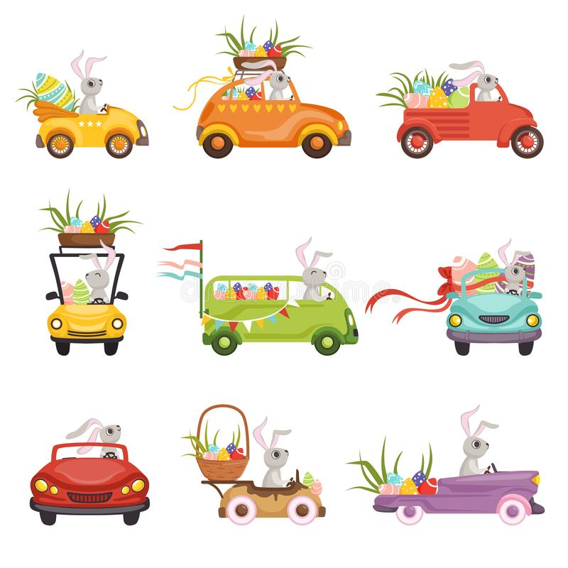 Cute little bunnies driving vintage car decorated with colored eggs set, funny rabbit characters, Happy Easter concept. Cartoon vector Illustrations on a white royalty free illustration