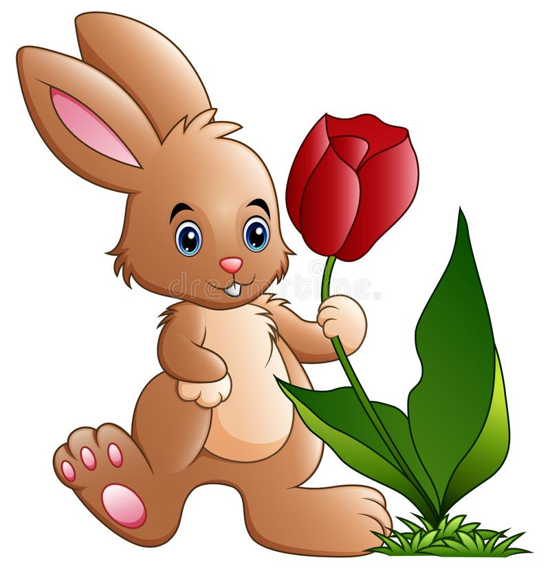Cute little bunny cartoon holding a flower royalty free illustration