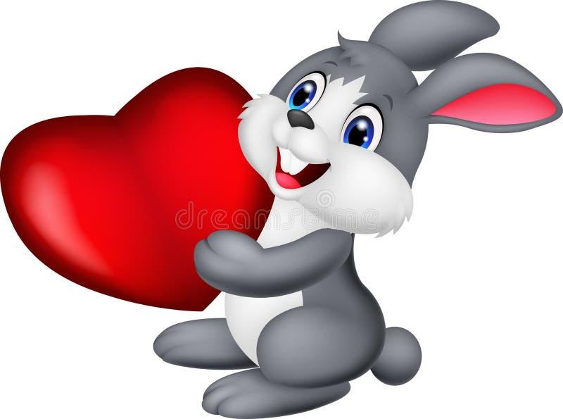 Cute little bunny cartoon holds red hart stock illustration