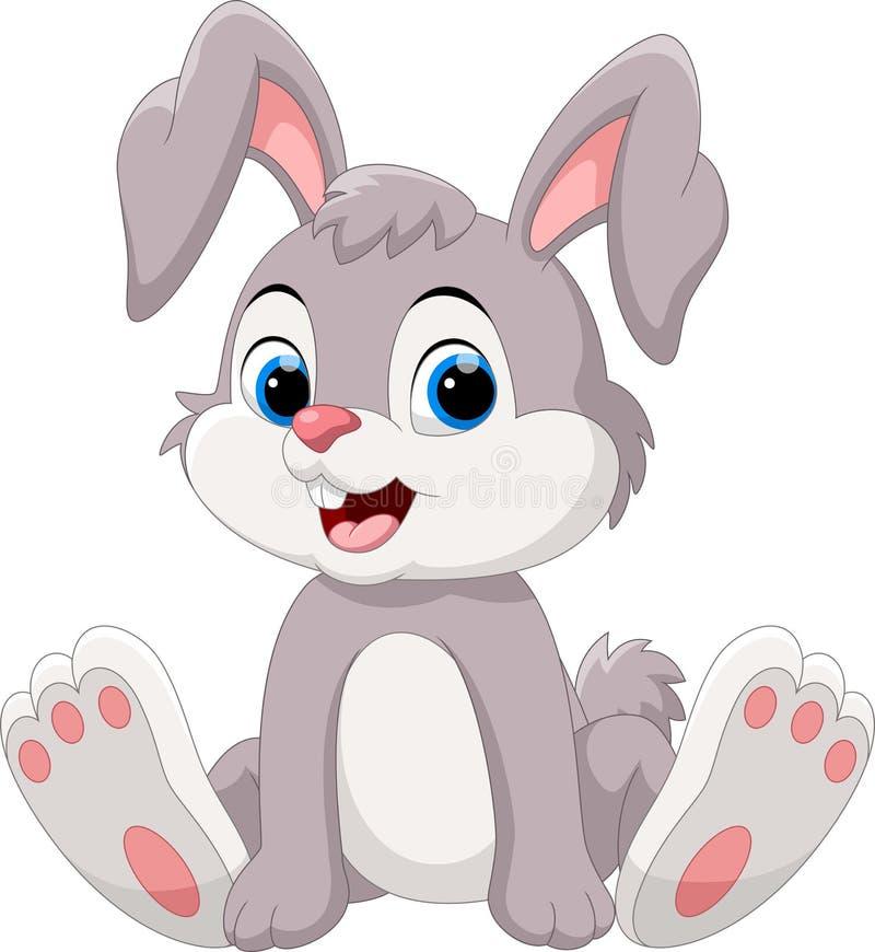 Cute little bunny cartoon sitting stock illustration