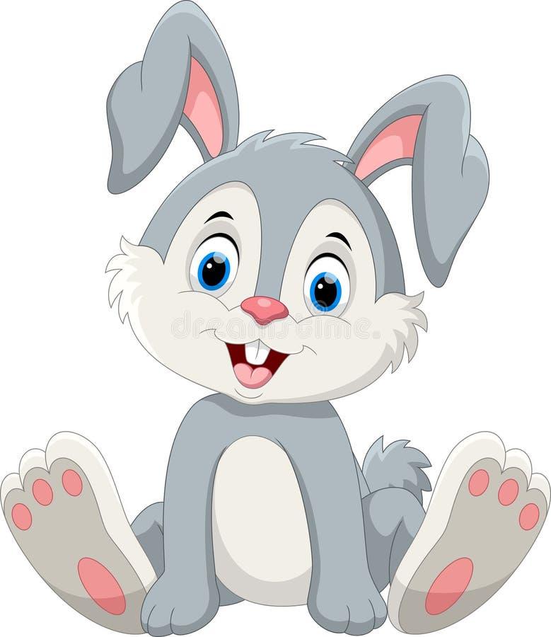 Cute little bunny cartoon sitting royalty free illustration