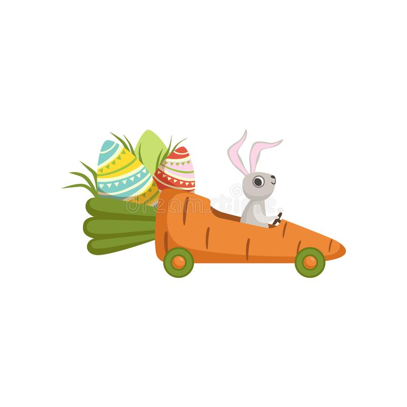 Cute little bunny driving car carrot, funny rabbit character, Happy Easter concept cartoon vector Illustration. On a white background royalty free illustration