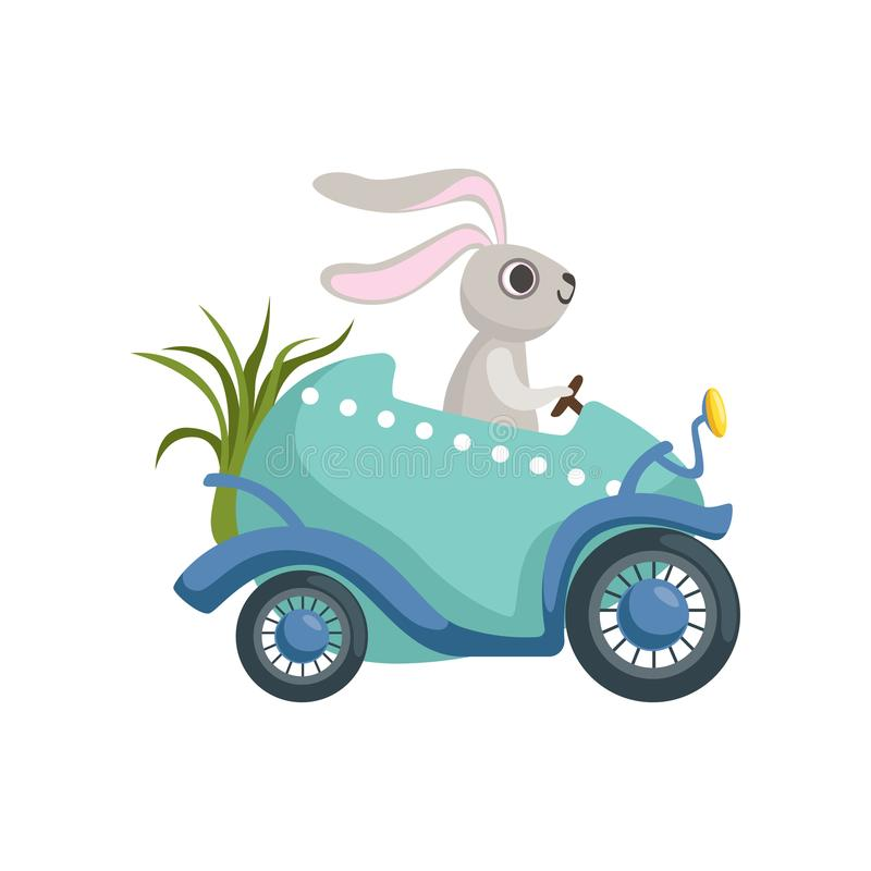 Cute little bunny driving Easter blue car egg, funny rabbit character, Happy Easter concept cartoon vector Illustration. On a white background royalty free illustration