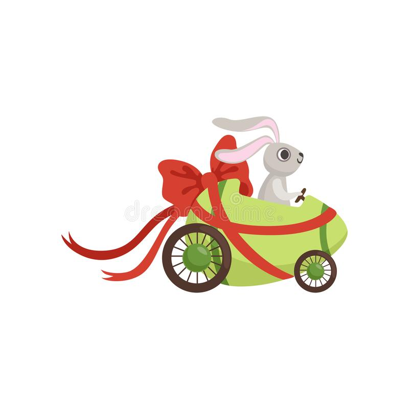 Cute little bunny driving Easter green car egg decorated with red bow, funny rabbit character, Happy Easter concept. Cartoon vector Illustration on a white stock illustration