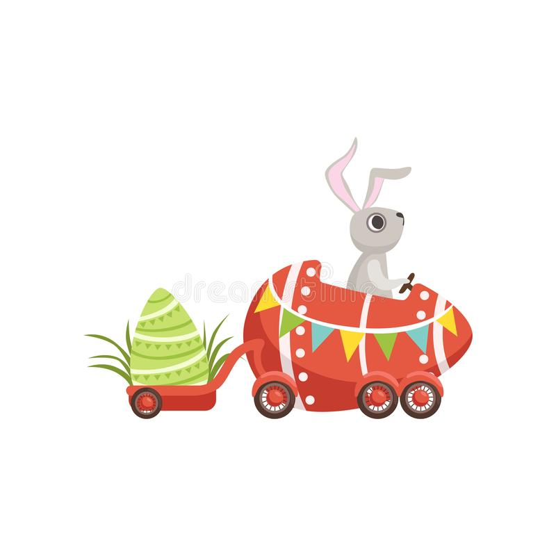 Cute little bunny driving Easter red car egg, funny rabbit character, Happy Easter concept cartoon vector Illustration. On a white background vector illustration