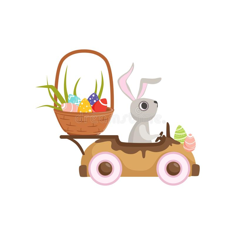 Cute little bunny driving vintage car with Easter eggs basket, funny rabbit character, Happy Easter concept cartoon. Vector Illustration on a white background vector illustration