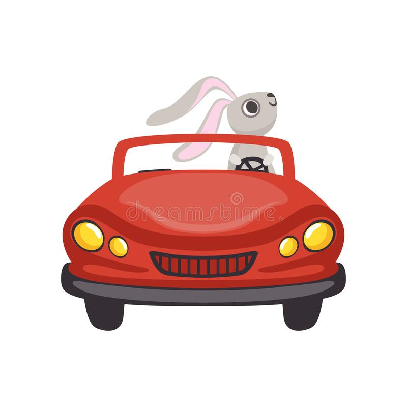 Cute little bunny driving vintage red car, funny rabbit character, Happy Easter concept cartoon vector Illustration. On a white background royalty free illustration