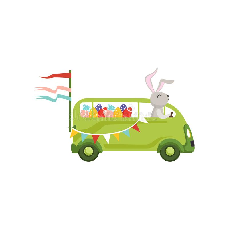 Cute little bunny driving vintage van car with colored eggs, funny rabbit character, Happy Easter concept cartoon vector. Illustration on a white background royalty free illustration