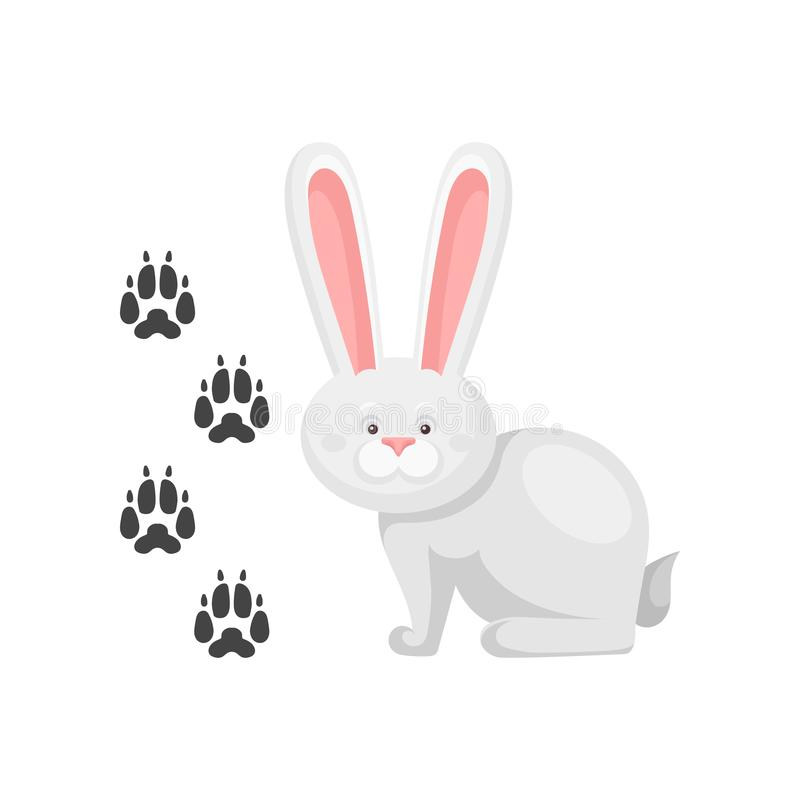Cute little bunny and his footprints tracks. Mammal animal with long ears. Zoo theme. Flat vector element for children. Cute little bunny and his footprints royalty free illustration