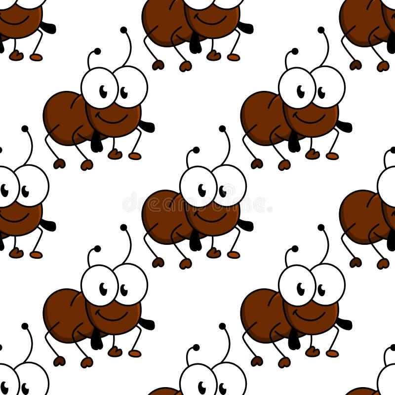 Cute little cartoon ant seamless pattern stock illustration