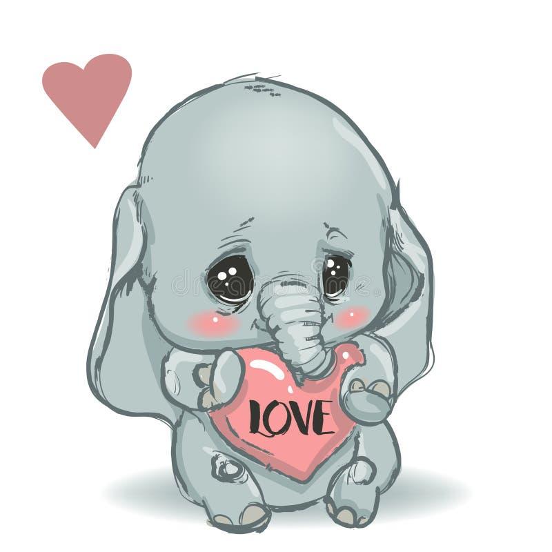 Cute little cartoon elephant vector illustration