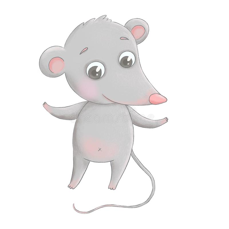 A cute little cartoon mouse stands on its hind legs stock photo