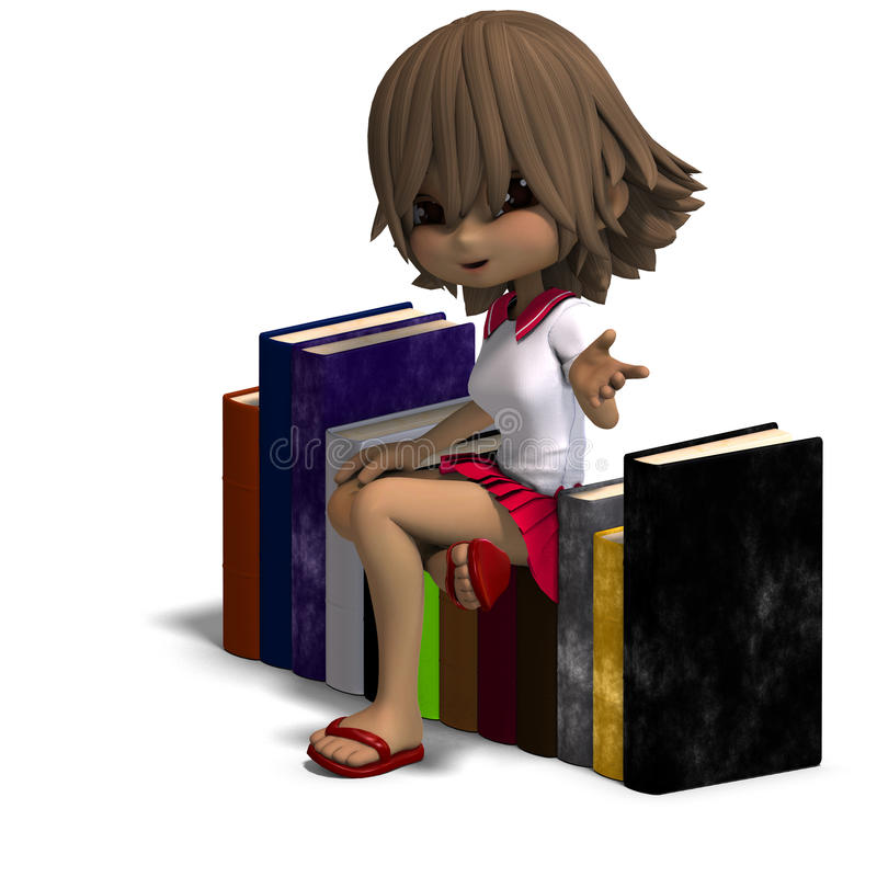 Cute Little Cartoon School Girl With Many Books Royalty Free Stock Photos