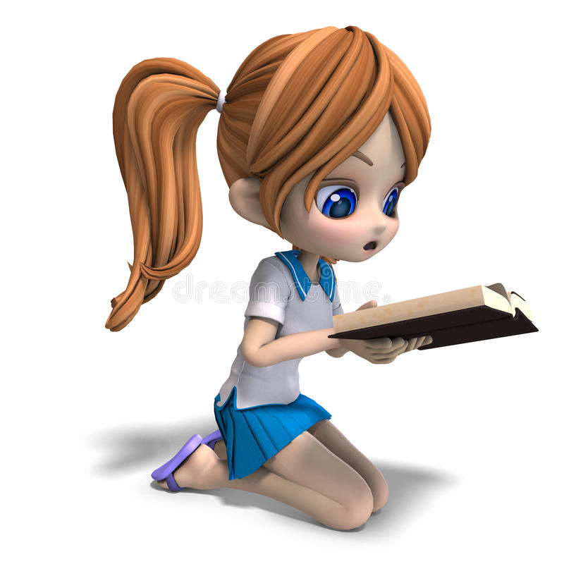 Cute little cartoon school girl reads a book. 3D rendering with clipping path and shadow over white royalty free illustration