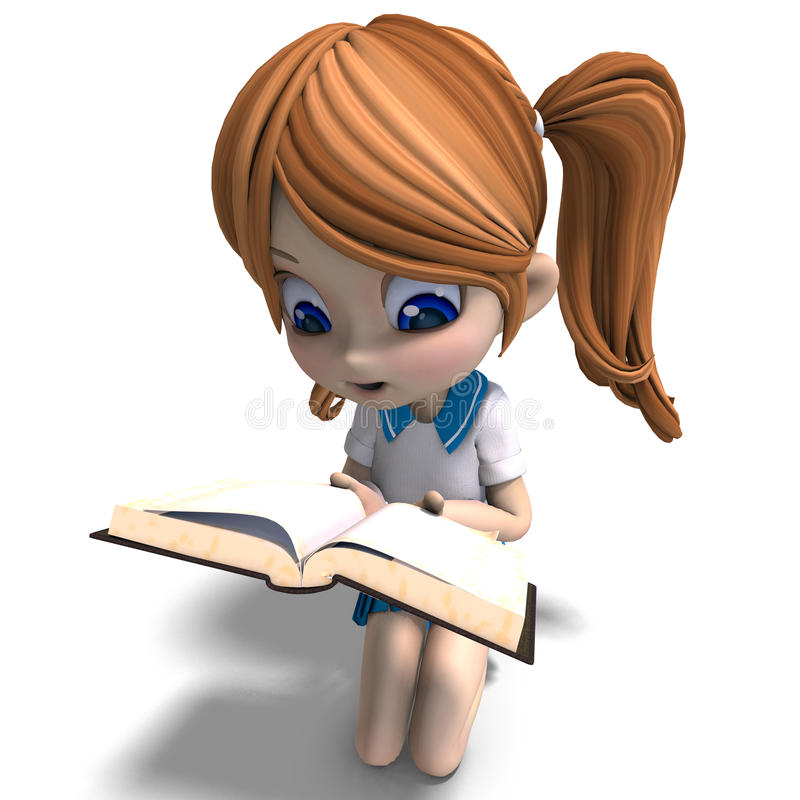 Cute little cartoon school girl reads a book. 3D. Rendering with clipping path and shadow over white royalty free illustration