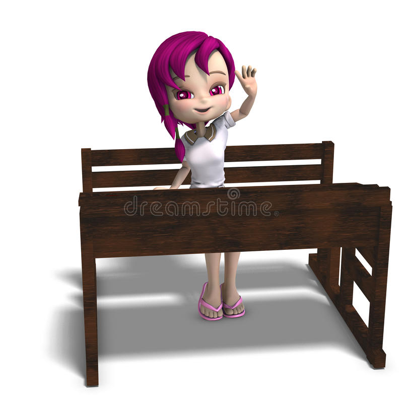 Cute little cartoon school girl sitting on a. School form. 3D rendering with clipping path and shadow over white stock illustration