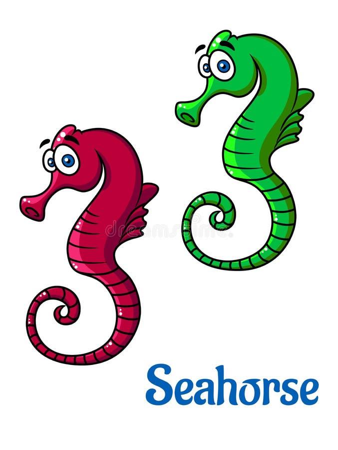 Cute little cartoon seahorses royalty free illustration