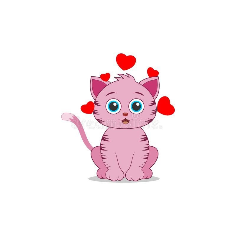 Cute little cat clip art smiling animal, Cat and hearts stock illustration