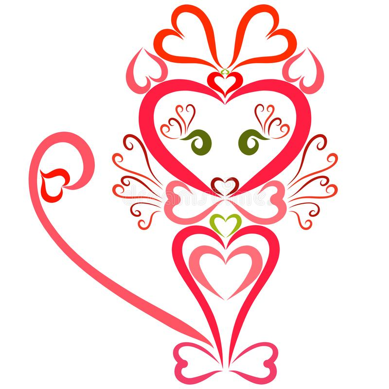 A cute little cat girl with a bow on her head, colorful hearts vector illustration
