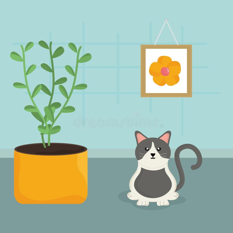 Cute little cat mascot in the house royalty free illustration