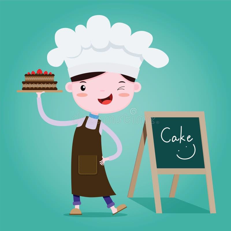 Cute Little chef of Cake, bakery. Vector cartoon vector illustration