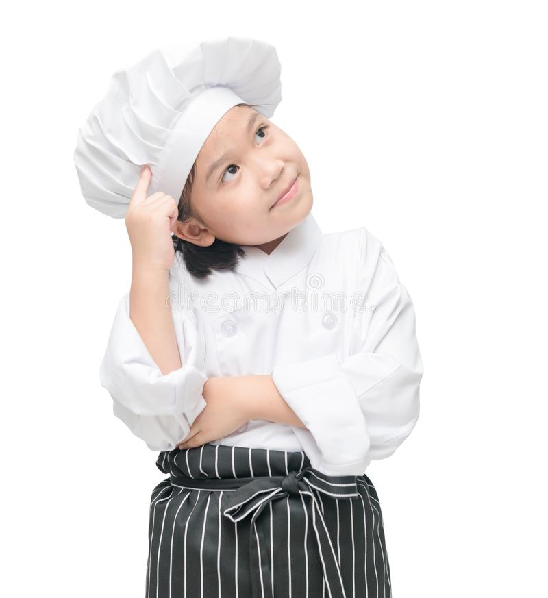 Cute little chef is thinking new menu. stock images