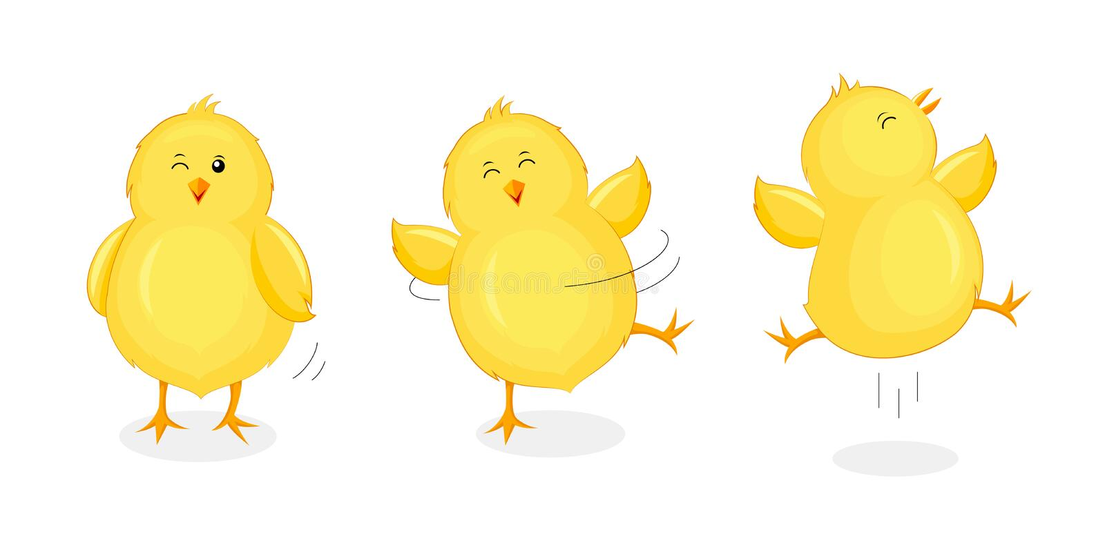Cute little chicks jumping and dancing. Happy Easter day. Newborn chicks birds, cartoon character design. Illustration isolated on white background vector illustration