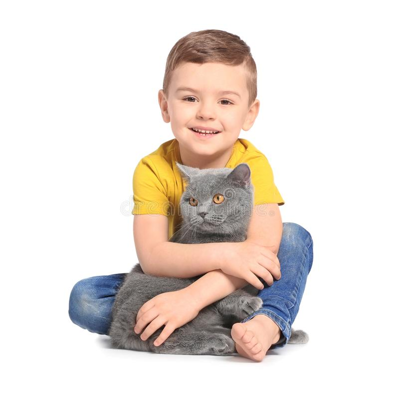 Cute little child with cat. On white background royalty free stock photos