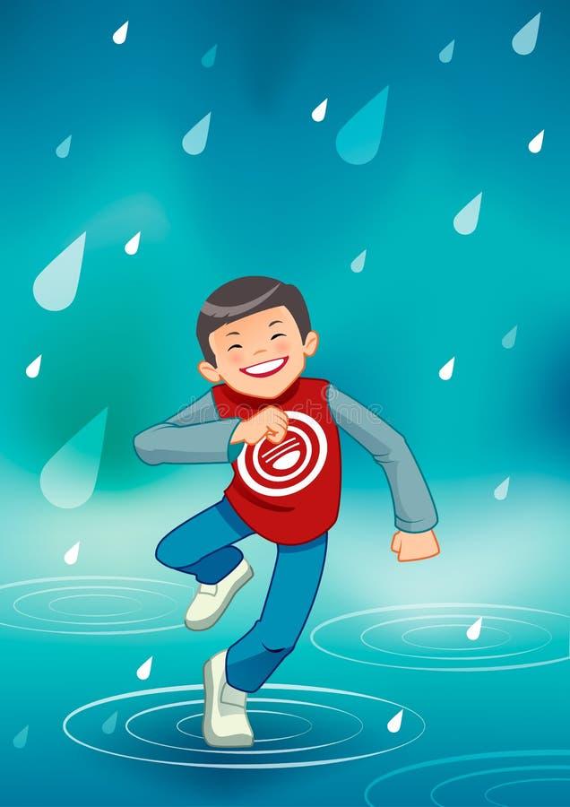 Little boy enjoying the rain stock photos