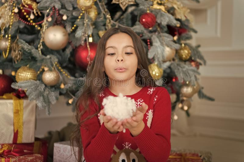 Cute little child girl with xmas present. happy new year. Christmas shopping. waiting for santa. Xmas. christmas family. Holiday. The morning before Xmas stock photo