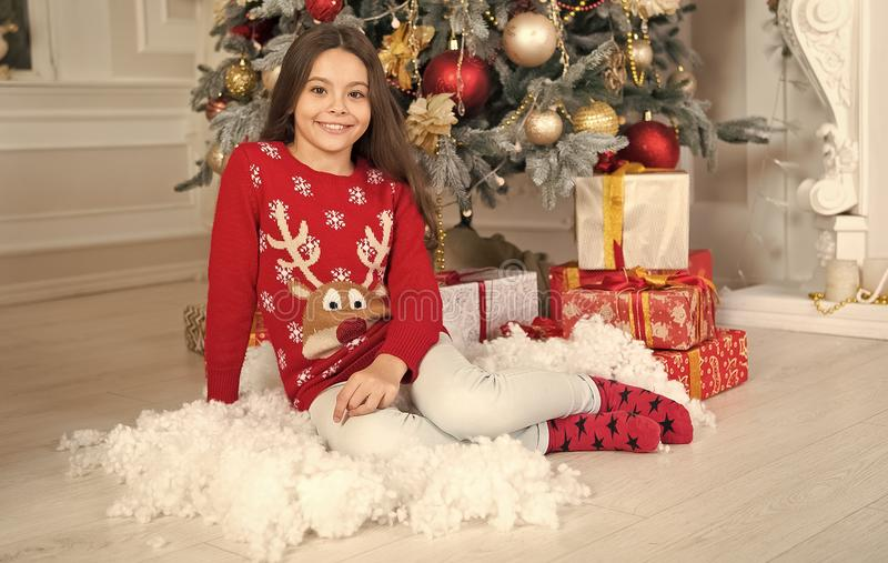 Cute little child girl with xmas present. The morning before Xmas. happy new year. Christmas shopping. waiting for santa. Xmas. christmas family holiday royalty free stock photos