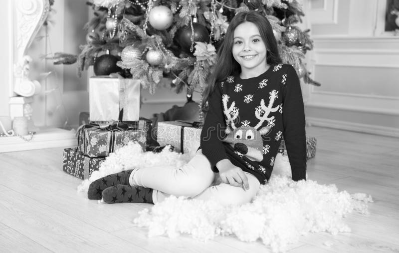Cute little child girl with xmas present. The morning before Xmas. happy new year. Christmas shopping. waiting for santa. Xmas. christmas family holiday royalty free stock images
