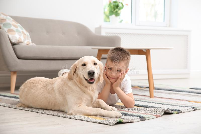 Cute little child with his pet on floor. At home stock image