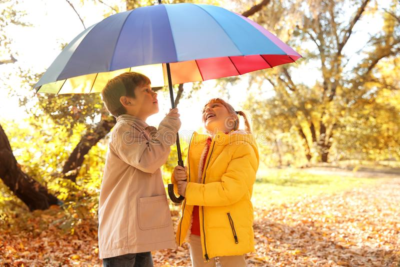 Cute little children with colorful umbrella in autumn park royalty free stock photo