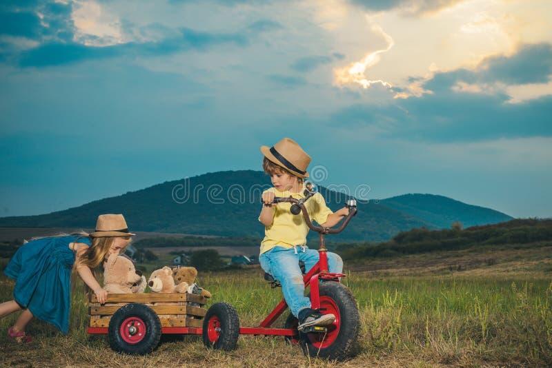 Cute little children enjoying on farm. Childhood memories. Eco resort child activities. Little farmer in village. Summer. Leisure. Country life. Springtime or stock photo