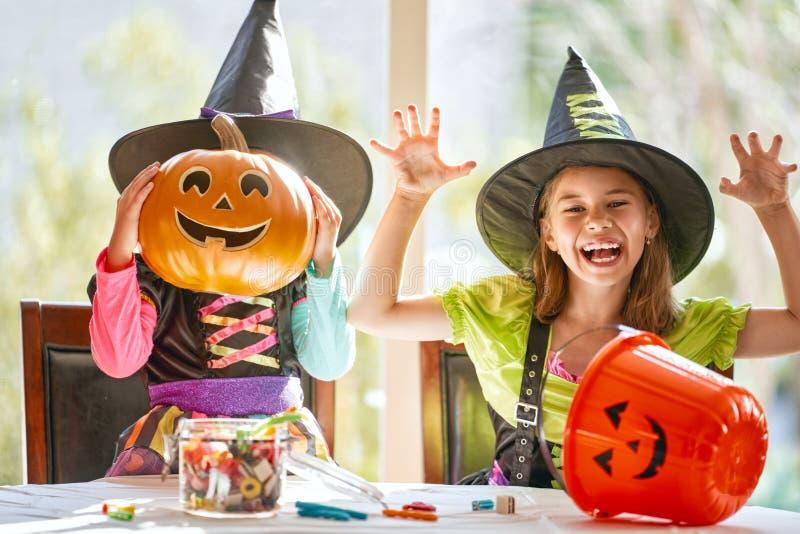 Children on Halloween royalty free stock photo