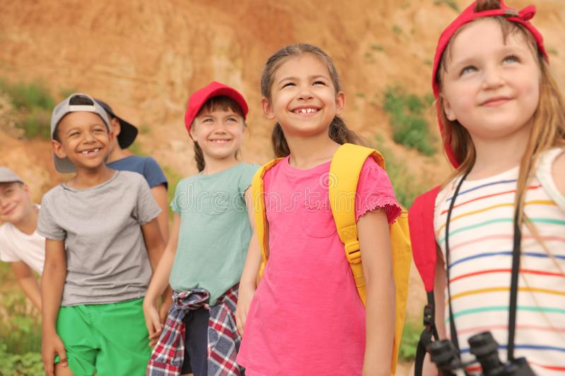 Cute little children outdoors on summer day stock images