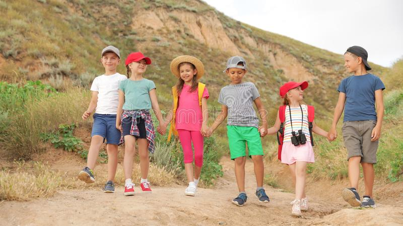 Cute little children outdoors on summer day royalty free stock photography