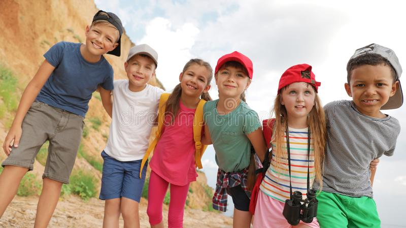 Cute little children outdoors on summer day stock photography
