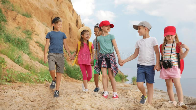 Cute little children outdoors on summer day royalty free stock images