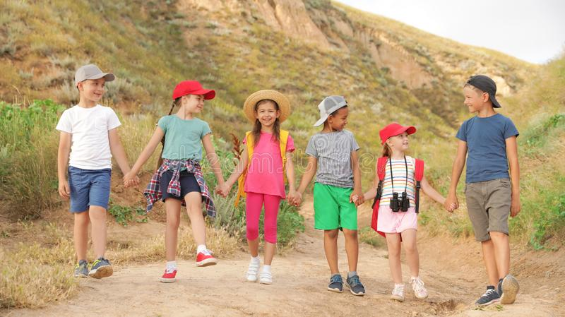 Cute little children outdoors on summer day stock image