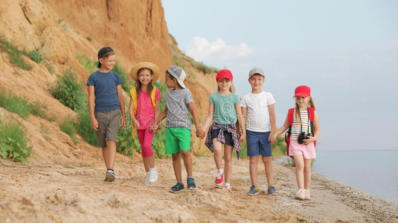 Cute little children outdoors on summer day royalty free stock photo