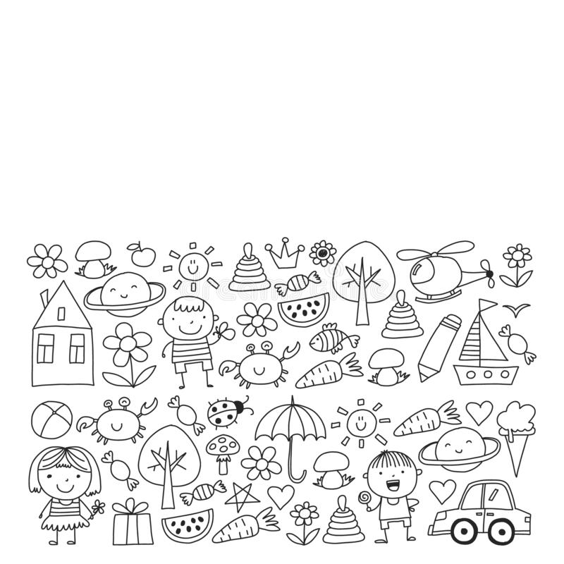 Cute little children play. Kindergarten, education, sport. Icons of kids and toys for patterns, banners, posters. royalty free illustration
