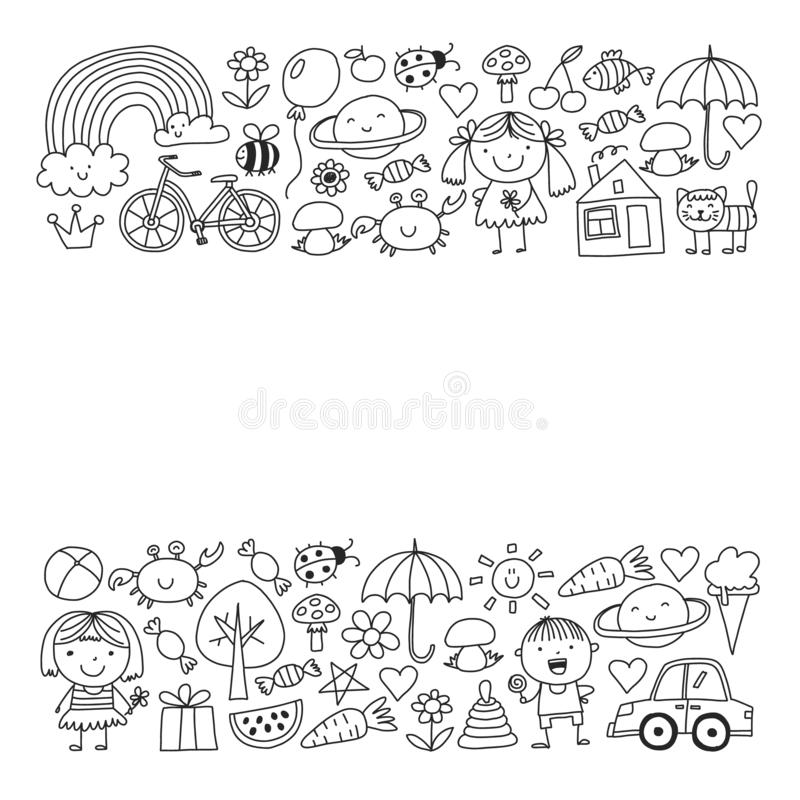 Cute little children play. Kindergarten, education, sport. Icons of kids and toys for patterns, banners, posters. vector illustration