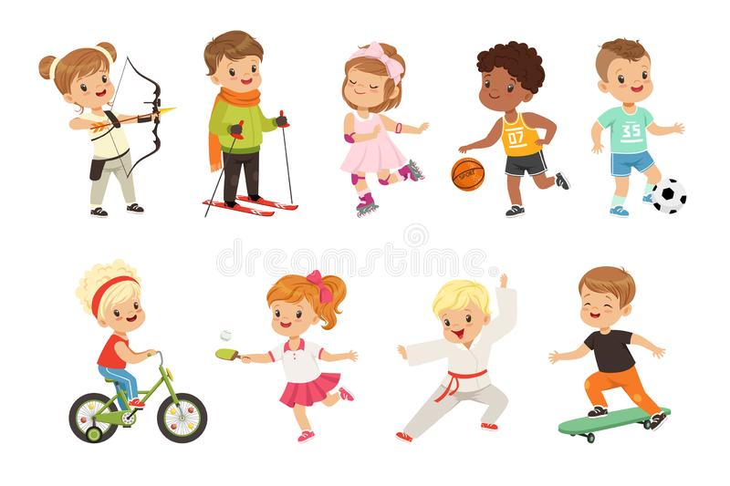 Cute little children playing different sports, soccer, basketball, archery, karate, cycling, roller skating vector illustration