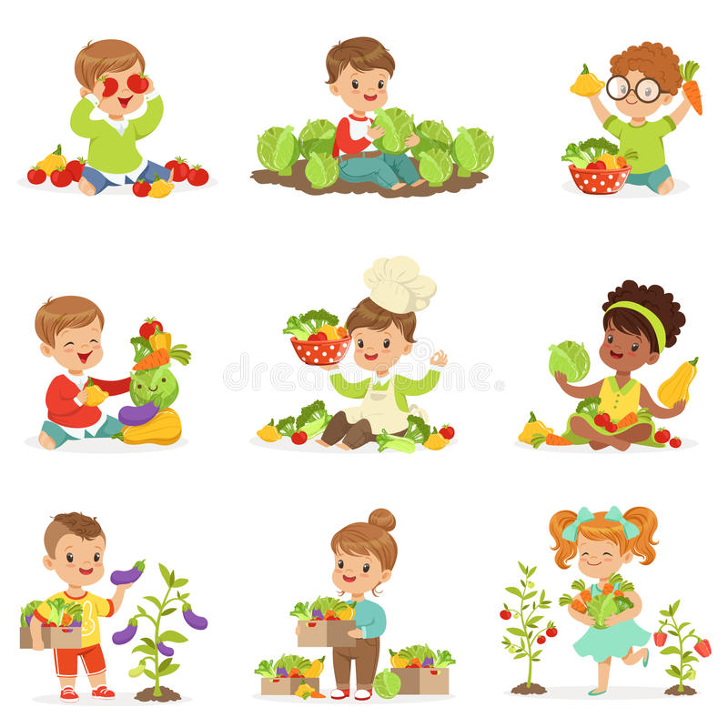 Cute little children playing, gathering and preparing vegetables, set for label design. Cartoon detailed colorful stock illustration