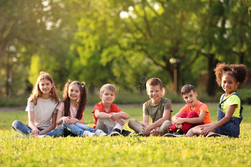 Cute little children sitting on grass outdoors royalty free stock images