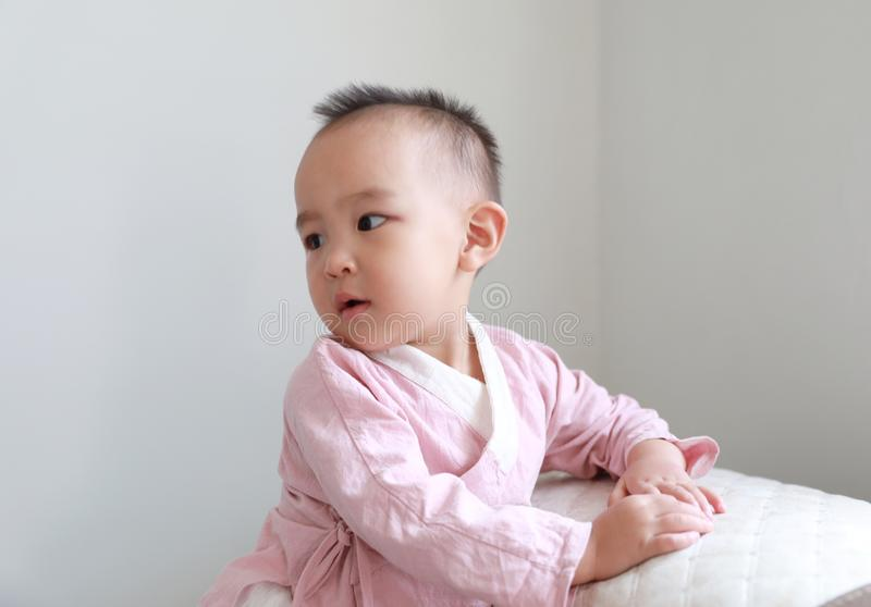 Lovely chinese Baby girl on white background royalty free stock images