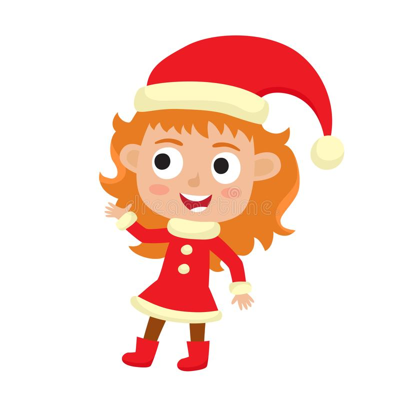 Free Cute Little Christmas Girl Elf Smiling, Vector Illustration Isolated On White Used For Magazine Or Book, Poster And Card Royalty Free Stock Image - 167475726