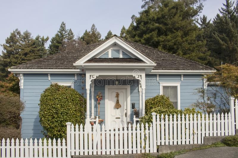 Cute little cottage with blue siding and victorian touches and wood shingles and white picket fence against tall pine trees royalty free stock images